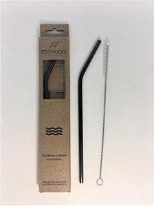 Canudo de Metal Reutilizável com Escova - Curvo Grafite 6mm