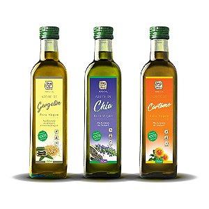 Kit Azeite Extra Virgem - Gergelim, Chia e Cártamo - 3 frascos de 250 ml cada