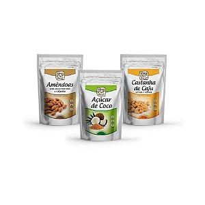 Kit Promocional 3 - Castanha de Caju, Amêndoas sem Casca Torradas e Salgadas e Açúcar de Coco - 3 pacotes