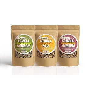 Kit Granola - Granolas Salgadas - Com Amêndoas Laminadas, Com Amendoim em Pedaços e Com Soja em Grãos (3 pacotes de 150g)
