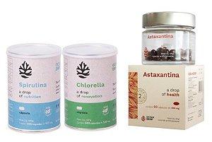Kit Chlorella, Spirulina e Astaxantina  Ocean Drop 100% Vegetal - Total 540 Cápsulas
