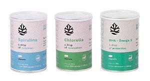 Kit Chlorella, Spirulina e DHA Ômega 3 - Ocean Drop 100% Vegetal - Total 600 Cápsulas