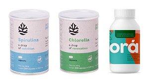 Kit Chlorella, Spirulina Ocean Drop e Ora Pro Nóbis  - Total 540 Cápsulas