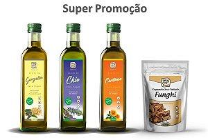 Superpromoção - Azeites Extra Virgem - Gergelim, Chia e Cártamo - 3 frascos de 250 ml e 1 pacote de Cogumelo Funghi de 100 g