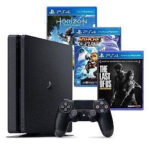 Ps4 Slim Playstation 4 Slim 500gb + 3 Jogos Hits Bundle Sony
