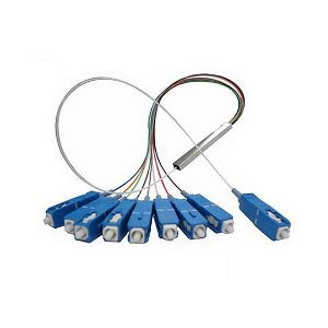 SPLITTER PLC 1X8 1310/1490/1550nm 0,9mm, comprimento 70cm com conector SC/UPC