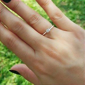 anel solitário em prata 925