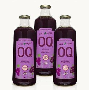 Suco Misto de Frutas OQ | Uva + Açaí | 1 Litro | Caixa 3 Garrafas