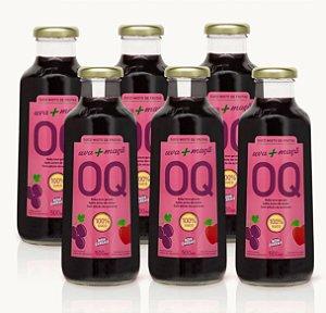 Suco Misto de Frutas OQ | Uva + Maçã | 500ml | Caixa 6 Garrafas