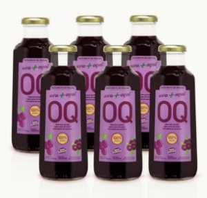 Suco Misto de Frutas OQ | Uva + Açaí | 500ml | Caixa 6 Garrafas