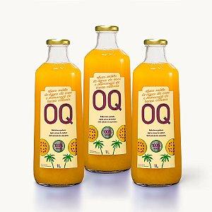 Suco Misto de Frutas de Baixa Caloria OQ | Água de Coco + Maracujá | 1 Litro | Caixa 3 Garrafas