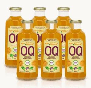 Suco Misto de Frutas de Baixa Caloria OQ | Água de Coco + Maracujá | 500ml | Caixa 6 Garrafas