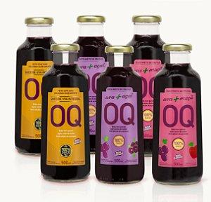 Suco de Uva OQ | Uva Integral | Maçã | Açaí |  500ml | Caixa 6 Garrafas