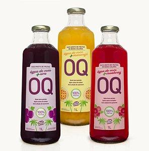 Água de Coco + Frutas OQ | Uva | Cranberry | Maracujá | 1 Litro | Caixa 3 Garrafas