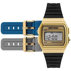 c58c61209d568 Relogio Digital Mormaii Vintage Freestyle Dourado com 3 Pulseiras nas Cores  Azul