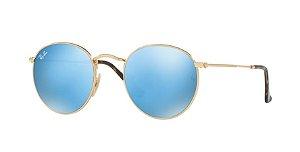 Óculos de Sol Ray-ban Redondo - Round Metal de Armação Dourada e Lentes  Espelhadas c3f5ac569d
