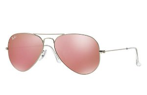 de419364e86d8 Óculos de Sol Ray-ban Aviador - Aviator - Piloto - Prata com Lentes  Espelhadas Cor Rosa - RB3025L019Z2