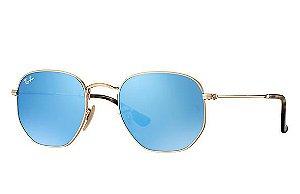 aa5fff0d43ca8 Óculos de Sol Ray-ban Hexagonal Flat Lenses - Dourado com Lentes Espelhadas  Azuis -
