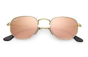 176f82e0dbec9 Óculos de Sol Ray-ban Hexagonal Flat Lenses - Dourado com Lentes Espelhadas  Rosa - Rosé-Gold - RB3548N001Z2