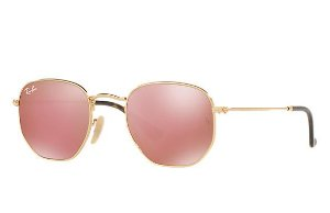 1bf8ba946ed65 Óculos de Sol Ray-ban Hexagonal Flat Lenses - Dourado com Lentes Espelhadas  Rosa -