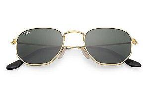 c575f80f12f70 Óculos de Sol Ray-ban Hexagonal Flat Lenses - Dourado com Lentes Verde  Clássica G zoom