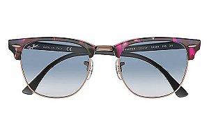 8ae3384f83156 Óculos de Sol Ray-ban Clubmaster Fleck Armação Spotted Grey And Violet -  cinza e zoom