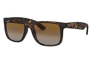 acf9f0faca0ad Óculos de Sol Ray-ban Justin Tartaruga - Turtle - Quadrado - Lentes Marrom  Degradê