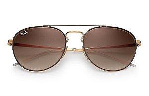 215e3cfef4dfa Óculos de Sol Ray-ban Redondo - Oval - Metal - Marrom e Dourado - Lentes  Marrom Degradê - RB3589905513