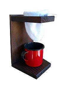 Coador de Café em Madeira com Xícara Esmaltada