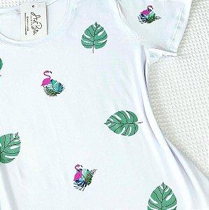 Tshirt Flamingo/Folhagem