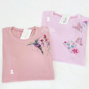 Tshirt Beija-Flor e Borboleta ombro/bolso