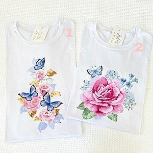Tshirt Rosas e Borboletas