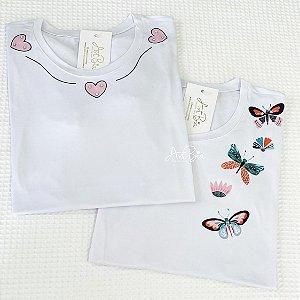 Tshirt 3 Corações e Borboletas