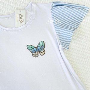 Tshirt Borboleta manga azul