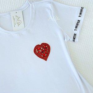 Tshirt Coração Vermelho Strass