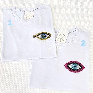Tshirt Olhos Strass Bolso