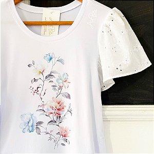 Tshirt Floral manga laise