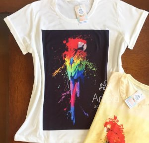 tshirt arara aquarela off