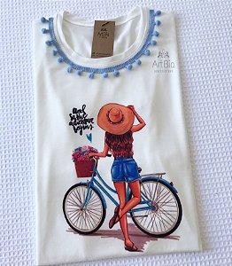 Tshirt girl gola pompom