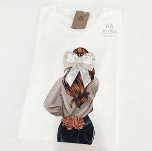 Tshirt girl laço marfim