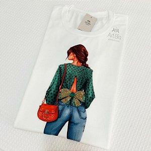 Tshirt Girl laço pedrarias