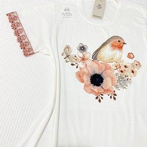 Tshirt Pássaro rosa seco