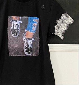Tshirt Tênis cetim preta