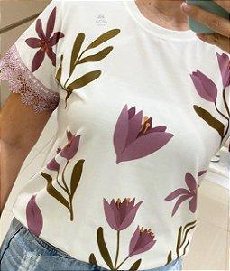 Tshirt Tulipa Lilás Renda