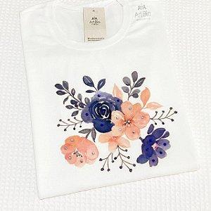 Tshirt Rosas azul e rosé