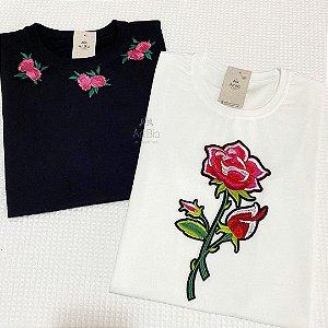 Tshirt 3 Rosas e Rosa Bordada