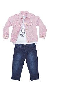 Conjunto 3 pçs Anuska blusa estampada jaqueta rosa e calça jeans
