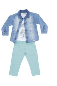 Conjunto Infantil em sarja, jeans e malha