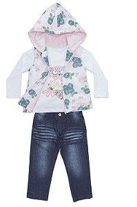 Conjunto infantil em jeans, malha e colete