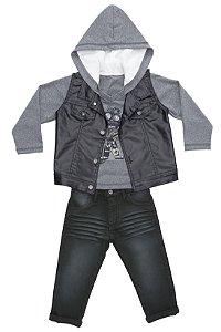 Conjunto 3 pçs calça jeans escura colete preto e blusa manga longa com capuz